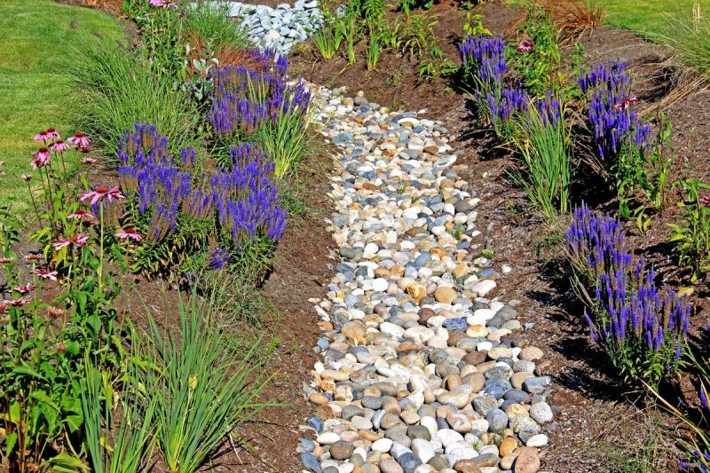 French drain in residential back yard with flowers on both sides