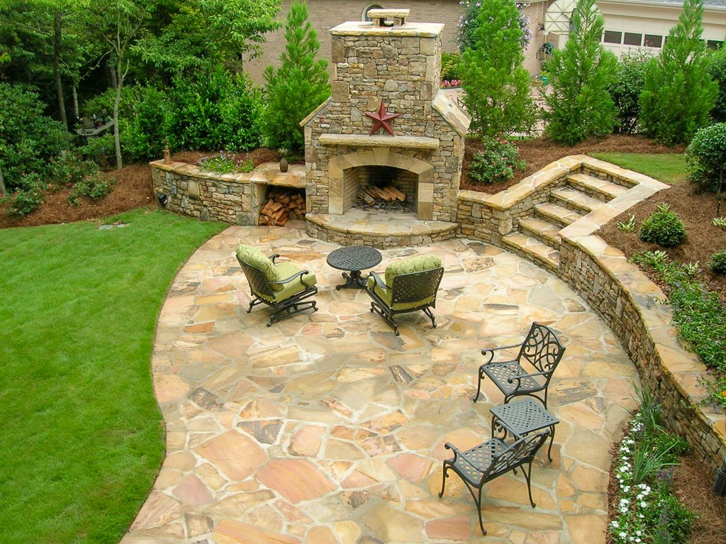 Outdoor fireplace patio overview