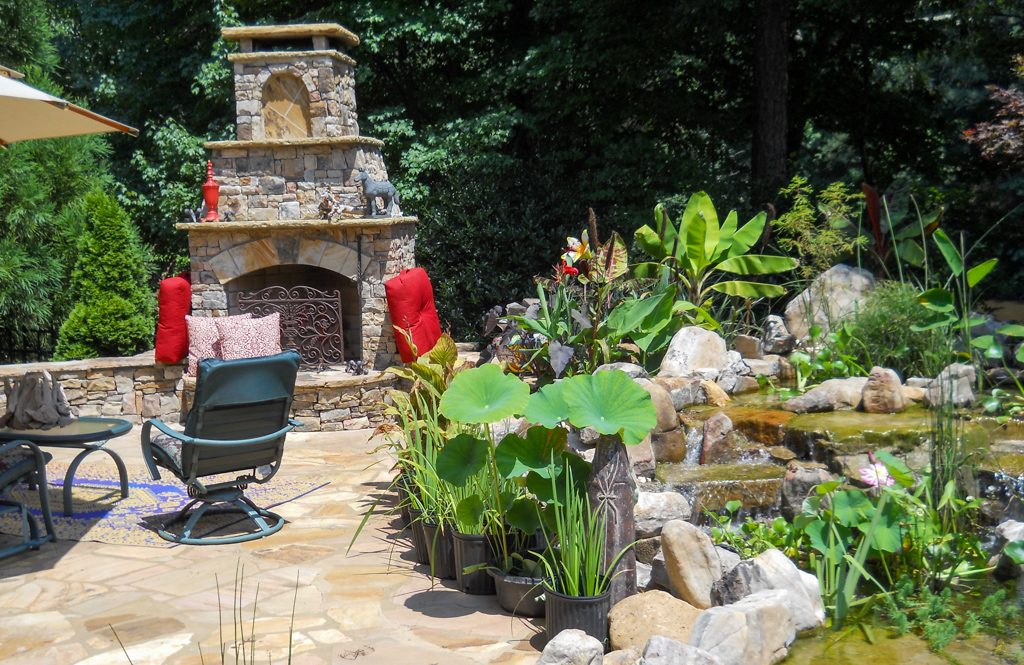 Outdoor living patio with water feature